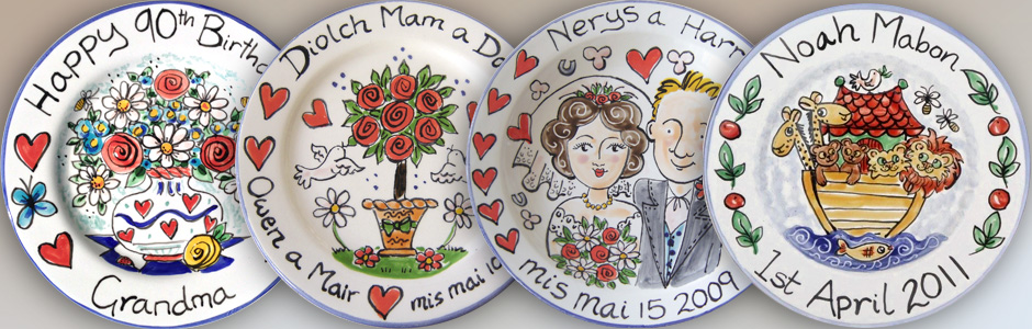 Colourful hand painted personalised Plates