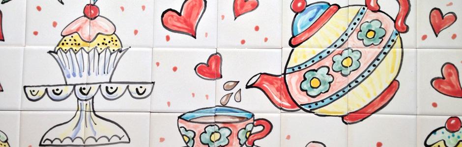 Tea Time Tile Mural Aga Splashback
