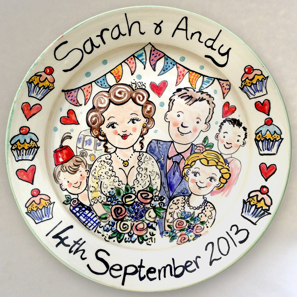 hand painted personalised wedding plate 2013