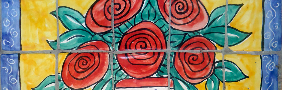 Rose bush hand painted tile mural