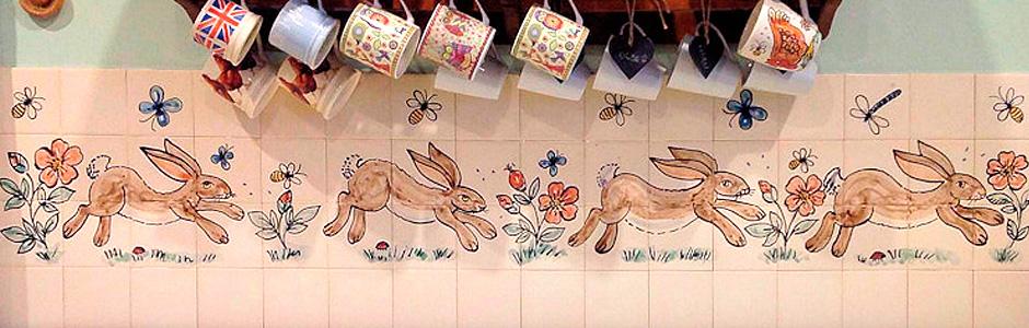 Running Hare Tile Mural