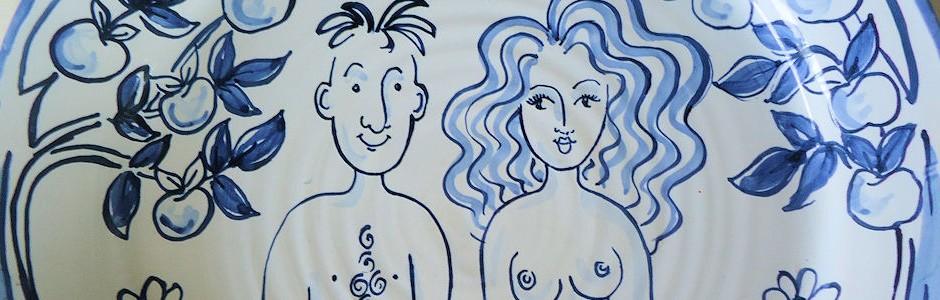 Hand Painted Adam & Eve Plate