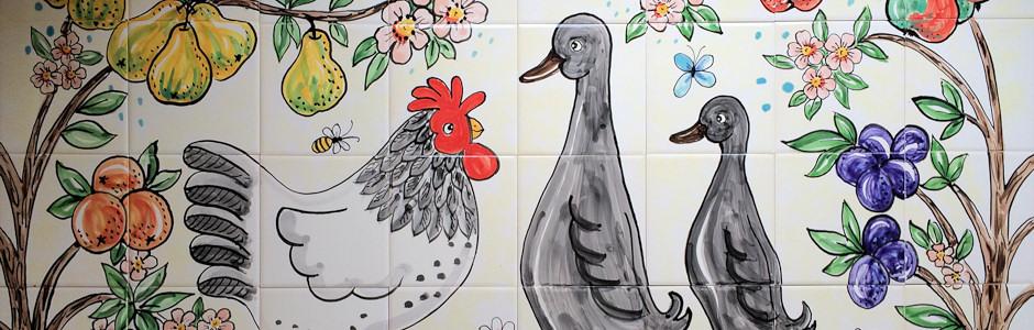 Chicken and duck kitchen splashback