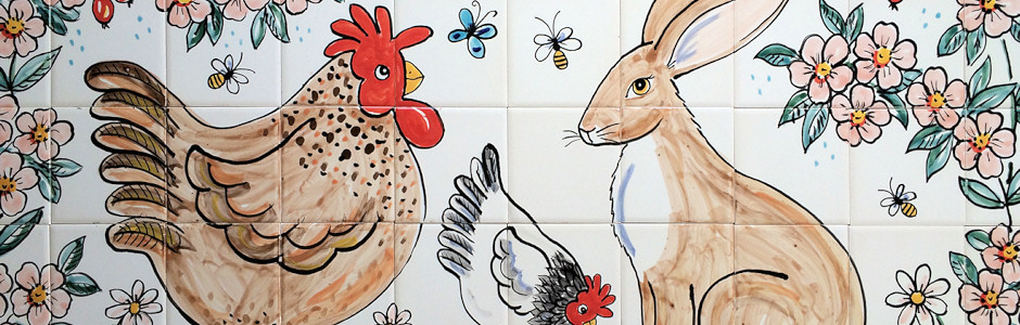 chicken and hare kitchen tile mural home