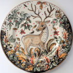 Hand painted deer plate in Autumn glory