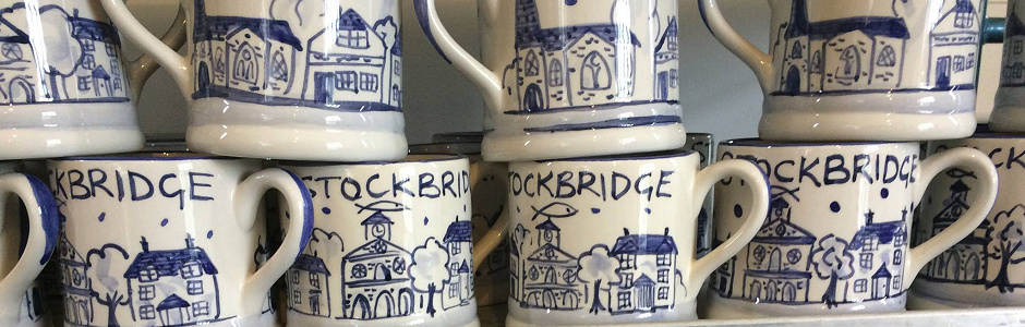 hand painted mugs for Stockbridge in Hampshire