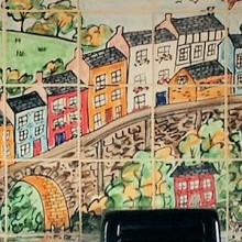Hand Painted Kitchen Aga splashback Tile Murals of Llandeilo, wales