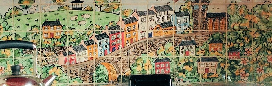Hand Painted Kitchen Aga splashback Tile Murals of Llandeilo, wales