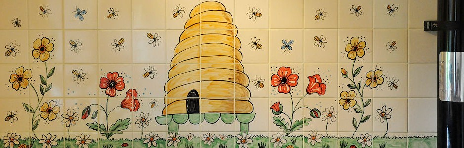 Hand Painted Beehive Kitchen Tiles