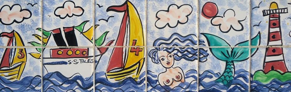 Mermaid and Sailing boat Splashback ceramic wall tiles