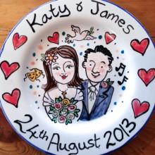 Hand painted personalised wedding plate 2013 K&J