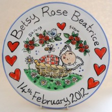 Hand Painted Plate for a New Baby Girl 2012