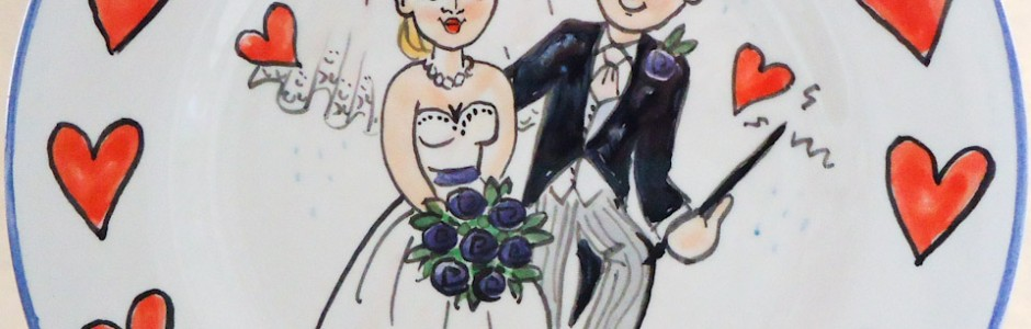Hand painted personalised wedding plate 2012 L&C