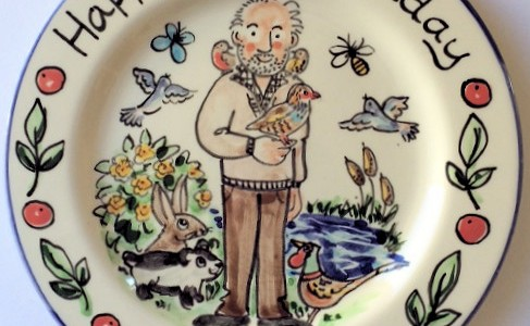 Happy 80th Birthday hand painted plate
