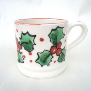 hand painted Holly Mug