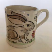 White hare hand painted Mug