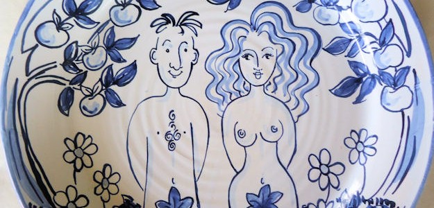 Hand painted personalised Adam and Eve Blue and White plate