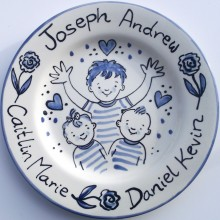 Hand painted personalised love the family Blue and White plate