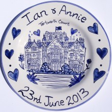 Hand painted personalised Blue and White wedding plate 2013 I&A