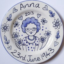 Hand painted personalised Birthday Blue and White plat
