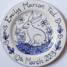 Hand painted personalised Rabbit Blue and White plate