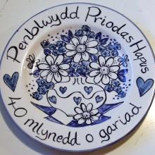 Hand painted personalised Penblwydd Priodas Hapus 40 Mlynedd o Gariad plate