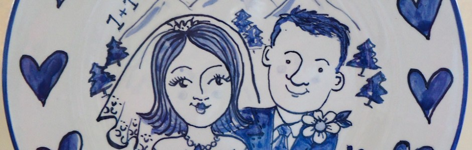 Hand painted personalised Blue and White wedding plate 2012 J&D