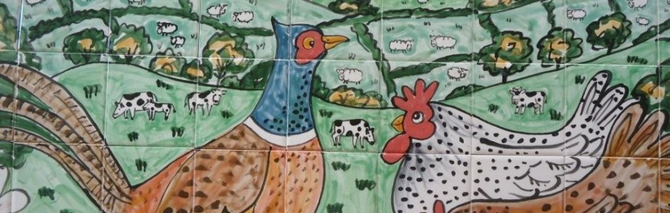 Aga Cooker pheasant and chicken tile mural