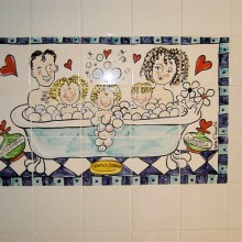 Hand Painted Family Bathtime Tile Murals