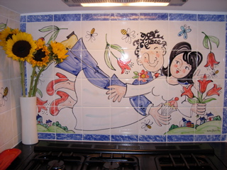 Happy couple hand painted Kitchen Tiles