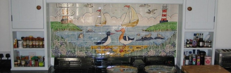 Hand painted Aga Splashback tile Murals