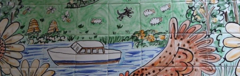 Hand painted tile mural chickens