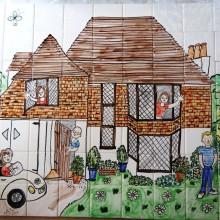 Bespoke Aga splashback Tiles personalised for a family kitchen