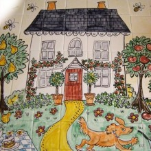 Hand Painted Cottage Kitchen Tiles