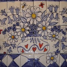 Hand Painted Kitchen Blue Flowers Tile Mural