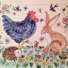 Country scene Kitchen Tile mural with hare, hedgehog and chicken