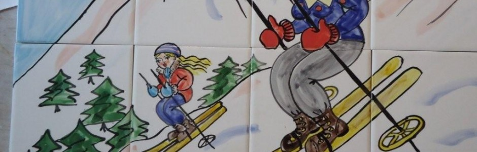 Kitchen Tiles hand painted skiing scene tile mural