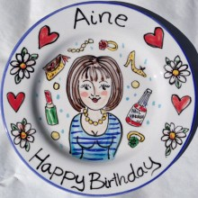 Hand painted personalised Happy Birthday shoes and lipstick plate