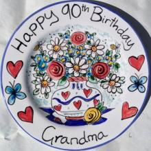 Hand painted personalised happy 90th birthday Grandma Plate
