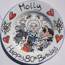 Hand painted personalised Happy 80th Birthday plate
