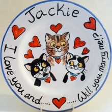 Hand painted personalised will you marry me? Plate