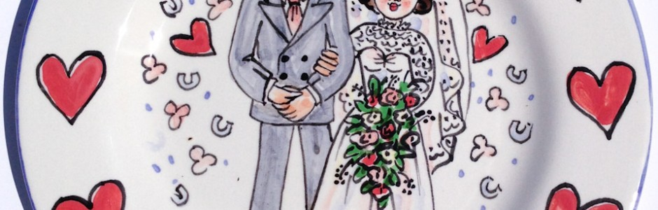 Hand painted personalised wedding plate 1953 T&J