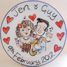 Hand painted personalised wedding plate 2012 J&G