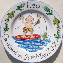 Hand painted personalised baby boy christening plate