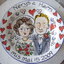 Hand painted wedding plate 2009 N&H