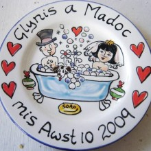 Hand painted personalised wedding plate 2009 G&M