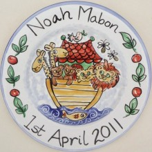 Hand painted personalised Birth Plate Noah and his Ark