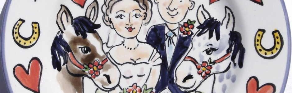 Hand painted wedding plate 2009 L&I
