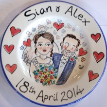 Hand painted wedding plate 2014 S&A
