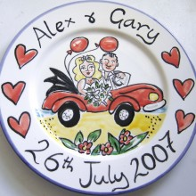 Hand painted personalised Car wedding plate 2007 A&G